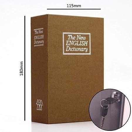 BOOKSAFEBOX Caja Fuerte con Forma De Libro Caja Fuerte Portátil Secreto Bloqueo De Seguridad Caja Fuerte De Libros Candado Páginas De Papel Auténticas,Yellow-S: Amazon.es: Hogar