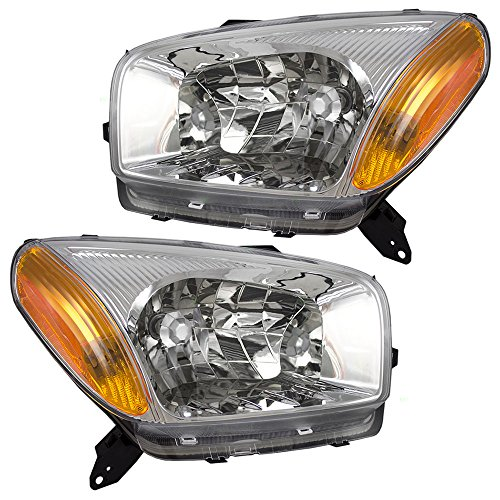 Driver and Passenger Headlights Headlamps with Chrome Bezels Replacement for Toyota SUV 8115042190 8111042190 (Driver Toyota Rav4 Headlight)
