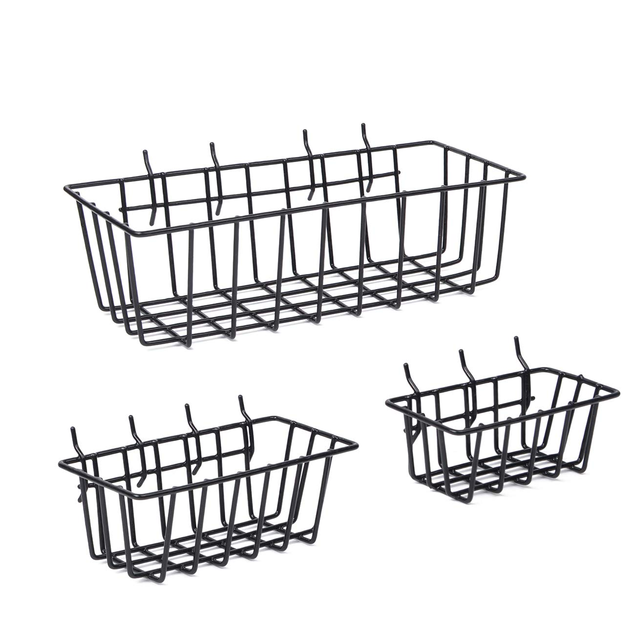 """3 Pack Pegboard Wall Mount Basket Hardware Wire Pluggable Tool Organization Set for Slatwall, Gridwall fits 1/4"""", 1/8"""" Peg Board"""