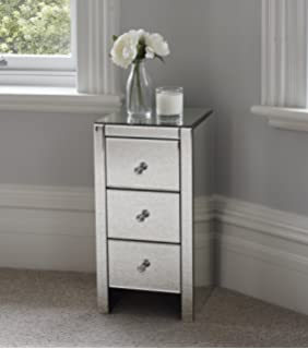 Venetian Mirrored Glass Bedside Table With Three Drawers And Glass Handles