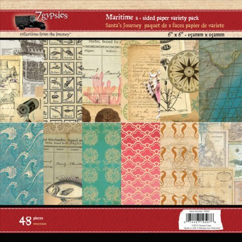 7 Gypsies Paper Pad, 6 by 6-Inch, Maritime, 48-Pack