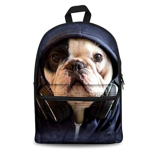Instantarts Popular Bulldog Print Boys Girls School Book Bag Canvas Backpack  Rucksack Blue 874e8cdd8cb08