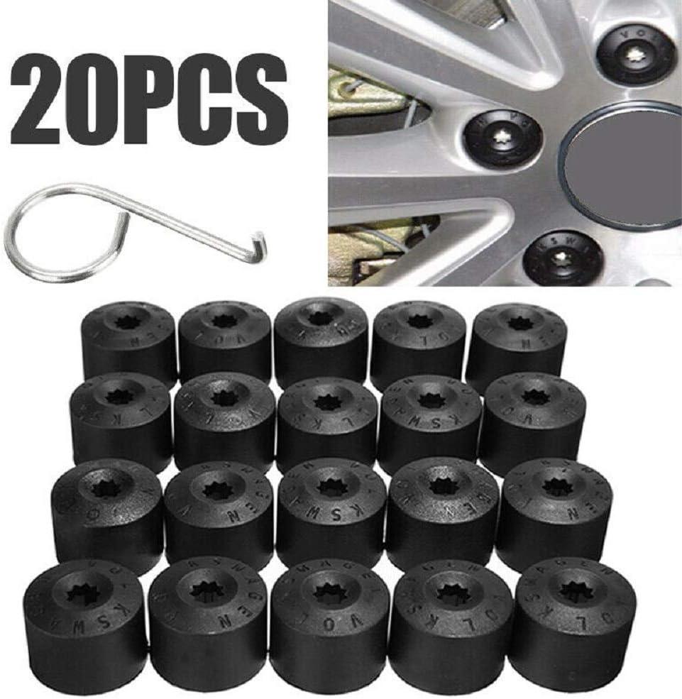 20x 17mm Wheel Lug Nut Bolt Cap Dust Cover+Hook Kit