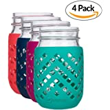 JarJackets Silicone Mason Jar Sleeve - Fits 16oz (1 pint) REGULAR-Mouth Jars | Package of 4 (Multicolor)