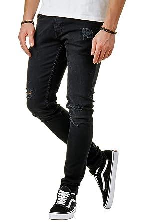 EightyFive Herren Denim Destroyed Jeans-Hose Slim Fit Zerrissen Schwarz EFJ3593