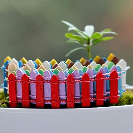 PowerBH Mini Valla Linda decoración del Paisaje Valla de Maceta de Madera Diez Colores Valla de jardín de plástico: Amazon.es: Hogar