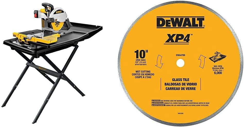 DEWALT Wet Tile Saw with Stand, 10-Inch (D24000S) & DWA4769 Continuous Rim Glass Tile Blade, 10