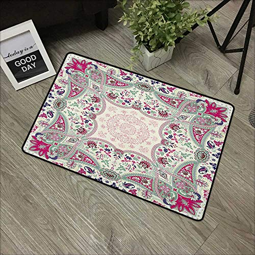 Carpets Indoor/Outdoor Area Rugs Paisley,Geometric Ornamental Square Print Detailed Modern Stylized Image, Pink Navy Blue Pale Green,with Non Slip Backing,24