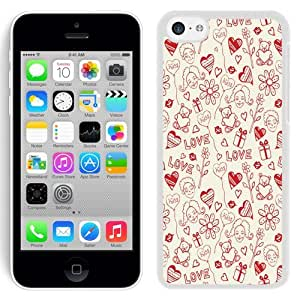 NEW Unique Custom Designed iPhone 5C Phone Case With Love Valentines Pattern_White Phone Case