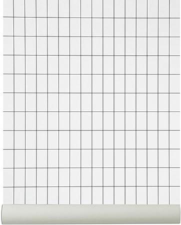 Ferm Living Grid Wallpaper Black White Amazon Co Uk Kitchen Home