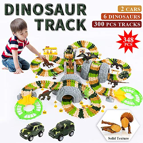 TEMI Deluxe Dinosaur World Toys Set with 300 PCS Flexible Race Tracks, 6 Jurassic Solid Dino Figure, 2 B/O Race Car Vehicle, DIY STEAM Train Track Play Sets for Kids, Boys & Girls Ages 3+ -