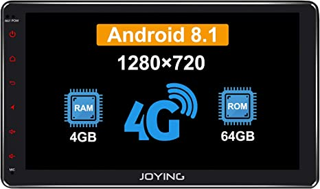 JOYING 10.1 Double Din Android 8.1 4GB Supprot Android Auto DSP SPDIF Fast Boot WiFi OBD2 DVR 64GB Car Stereo Built-in DSP LCD Touchscreen with 4G SIM Card Slot /& 1280/×720P Reslution