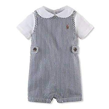 7220e46a74f0 Image Unavailable. Image not available for. Color  Ralph Lauren Baby Boys  Seersucker Shortall   Bodysuit Polo Set ...