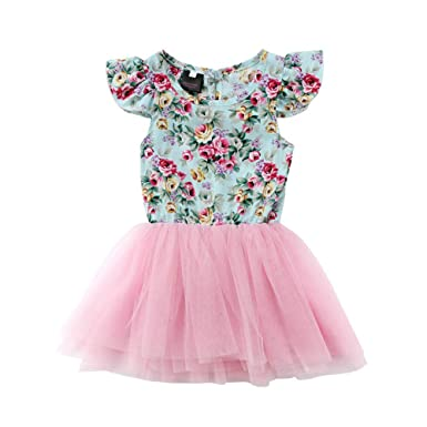 Easter Kid Baby Girls Floral LOVE Party Pageant Formal Dress Sundress Clothes