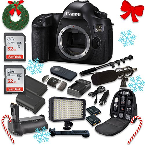Canon EOS 5DS 50.6MP Full Frame CMOS Digital SLR DSLR Camera (Body Only) with 2pc SanDisk 32GB Memory Cards + Battery Power Grip + Special Promotional Holiday Accessory Bundle (Focusing Screen Set)
