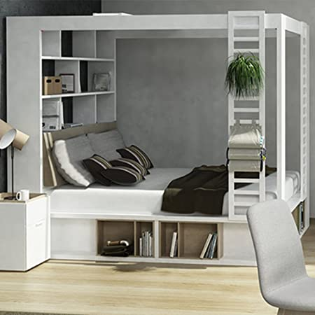 Vox 4 You 4 Poster King Bed With Storage Shelves In White Amazon