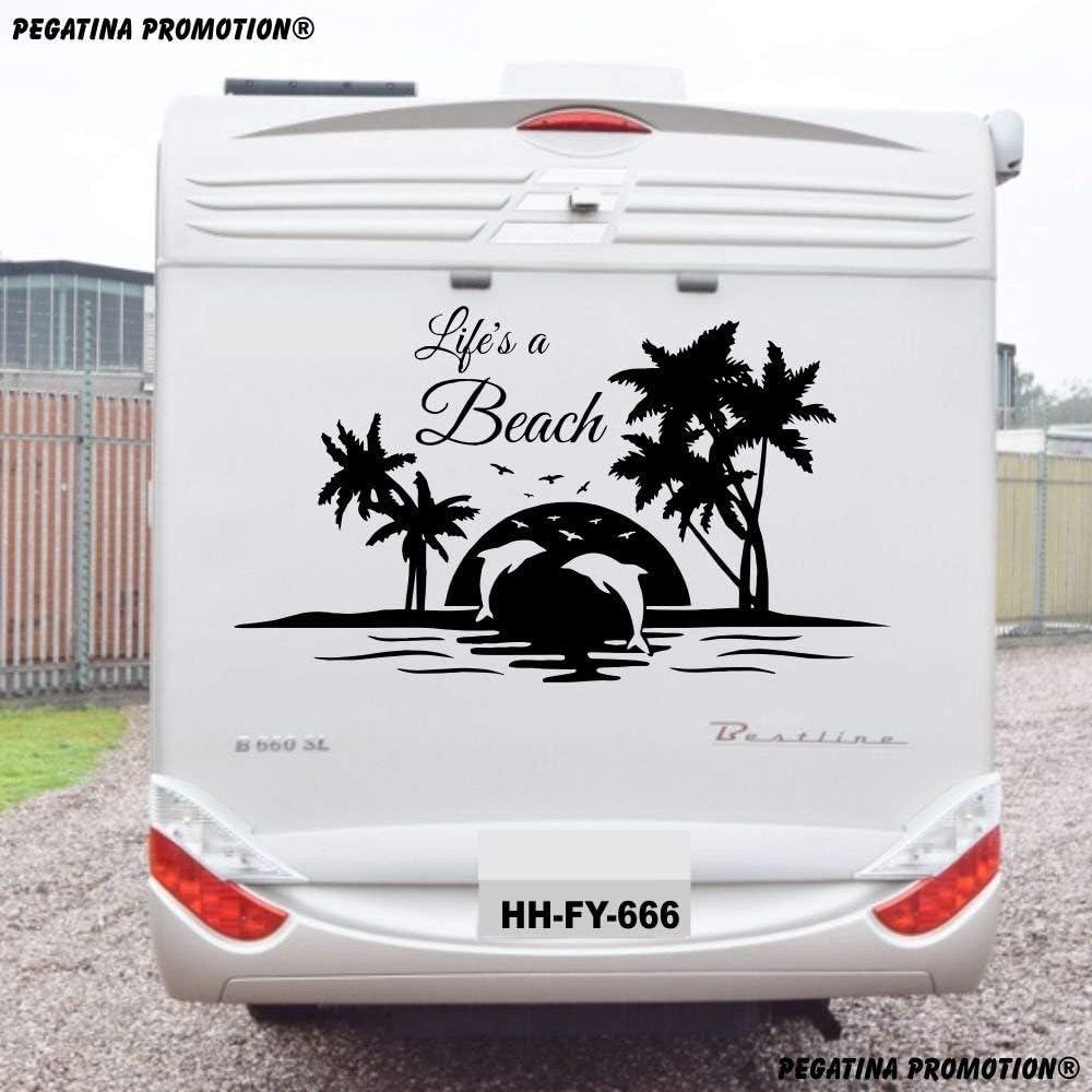 Pegatina Promotion Life is a Beach Aufkleber 10x10cm für Wohnmobil  Wohnwagen Womo WOWA Caravan Lustige Sprüche lustiger Spruch