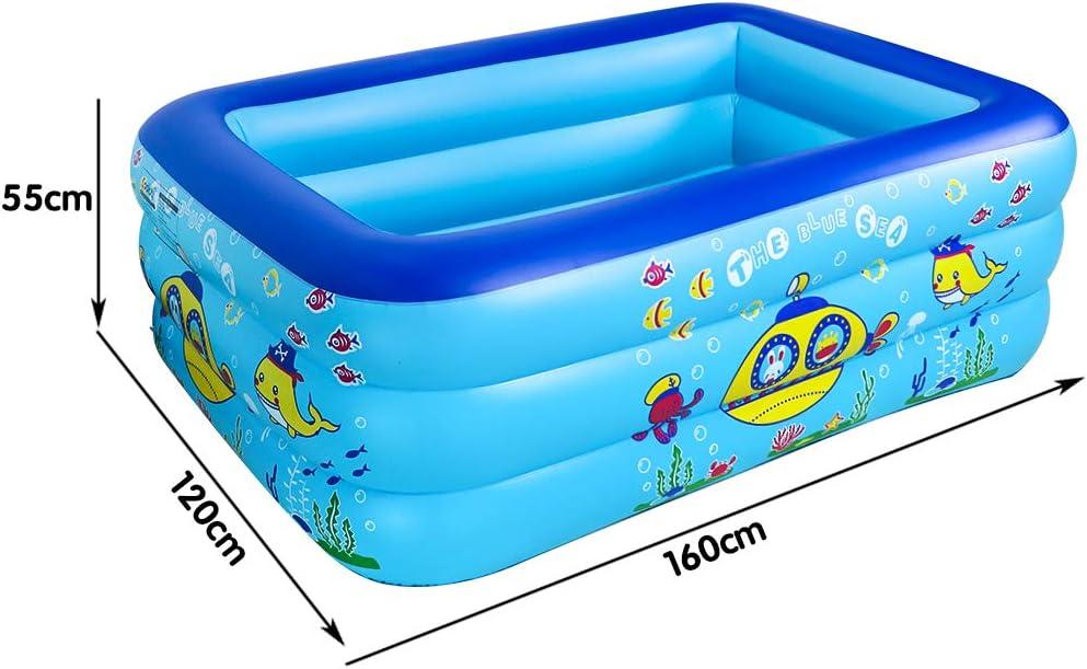 TONZE Piscine Gonflable Enfant Pataugeoire 160 /× 120 /× 55CM Piscine Exterieur Jardin Piscine Hors Sol,Jeux Exterieur Inteirer Enfant 3 4 5 6 Ans