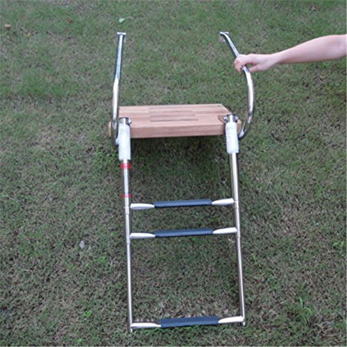 spareflying 3 Step Inboard Teak Boat Swim Platform Stainless Ladder Two Rail Marine Boat Yacht by (3 step Inboard Teak Boat platform ladder)