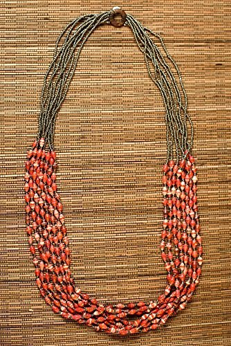 Paper Bead Multi Strand Elements Necklace - Fire - Fair Trade BeadforLife Jewelry from (Element Strand Necklace)