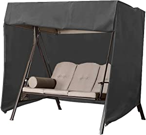 """Naiveroo Patio Outdoor Swing Cover, Waterproof 3 Triple Seater Canopy Chair Cover Furniture Protector All Weather Protection 88""""(W) x60''(D) x72''(H) (Black)"""