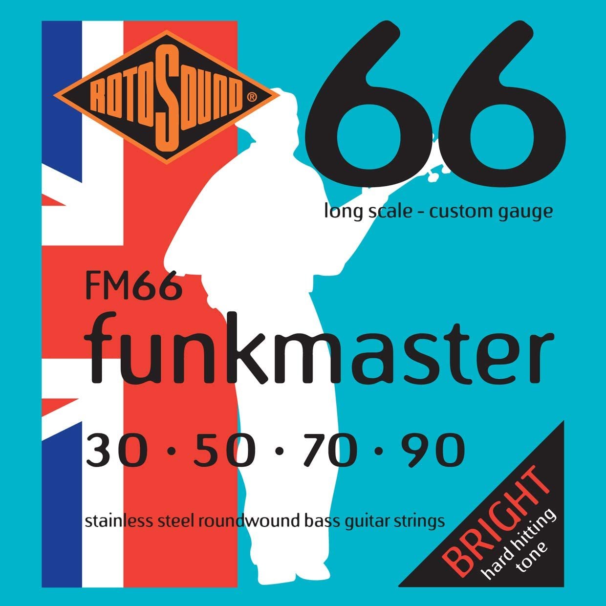 Rotosound FM66 Swing Bass 66 Stainless Steel Funkmaster Bass Guitar Strings
