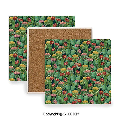 Botanic Garden Coasters Square - Ceramic Coaster With Cork Mat on the back side, Tabletop Protection for Any Table Type, Square coaster,Nature Decor,Garden Flowers Cactus Texas Desert Botanic,3.9