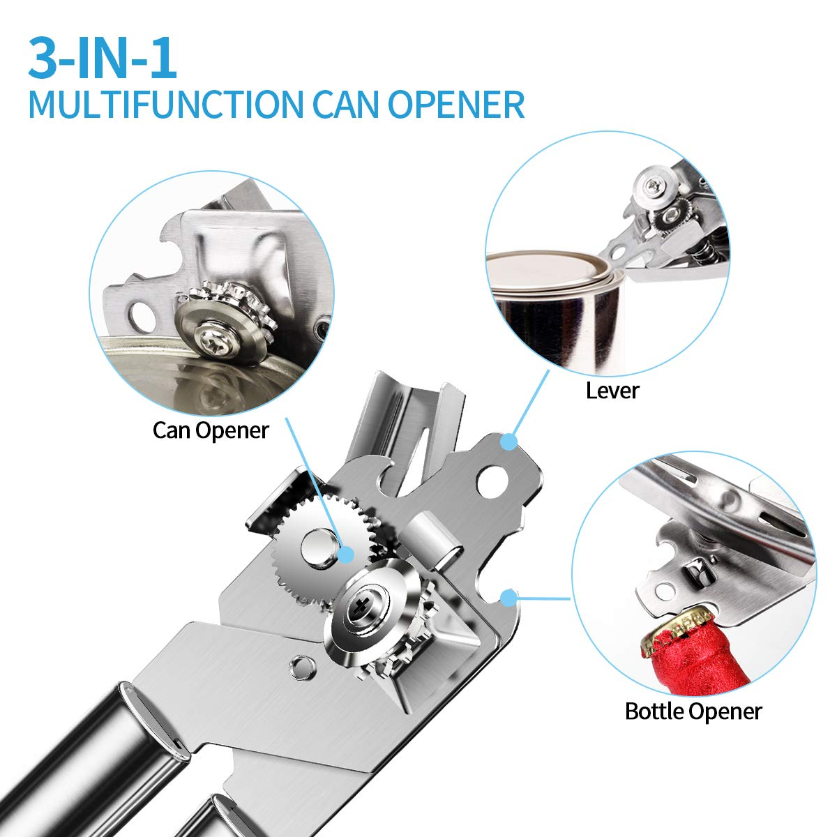 Manual Can Opener, Professional Side Cut Can Opener with Food-Safe Stainless Steel Body, Ergonomically designed handle for opening can, jar, bottle