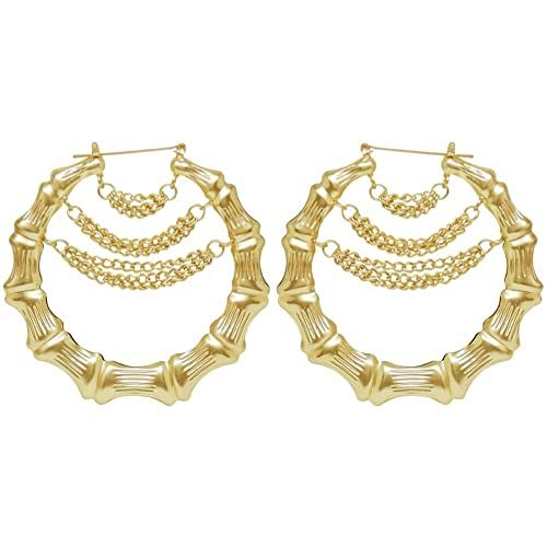 d2ad735ad2123 Amazon.com: Bamboo Hoop Earrings with Multi Chain Drape, in Gold ...