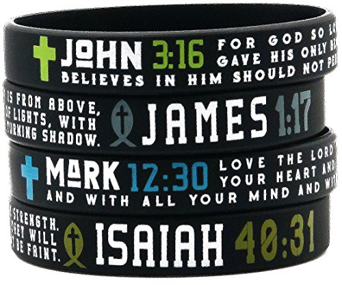 (12 pack) Cross Bible Bracelets with Scriptures Wholesale Pack of Christian Religious Silicone Wristbands