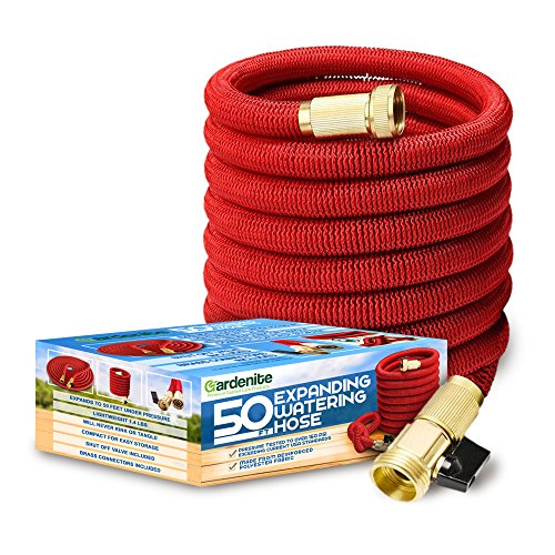 Heavy Duty 50ft Expanding Garden Water Hose - Triple Strength Outer Fabric - Flexible & Expandable - Won't Twist & Kink - Brass Fittings