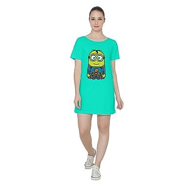 025f61afa7f5 Cotton Boat Neck Superhero Printed Aqua Green T-Shirt Dress for Women s in  X-Small  Amazon.in  Clothing   Accessories