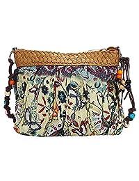 Women Bohemian Boho Ethnic Folk Print Beach Purse Crossbody Cloth Bag (G)