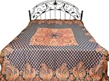 Reversible Jamawar Bedspread with Woven Bootis and Paisleys on Border - Modal - Color Ombre Blue Color