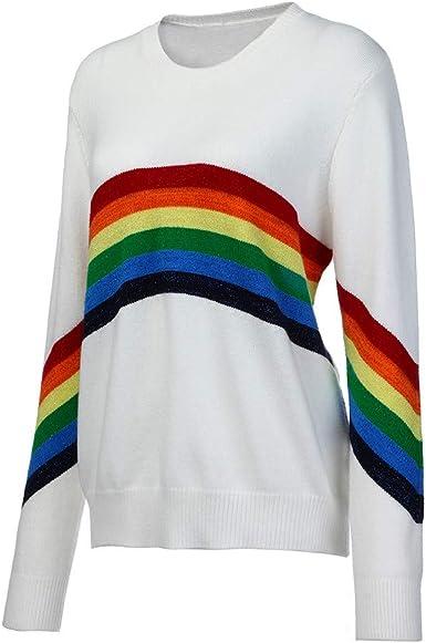 LOOKAA Womens Round Neck Long Sleeve Stripe Knitting Sweater Casual Sweatshirt Tops Blouse