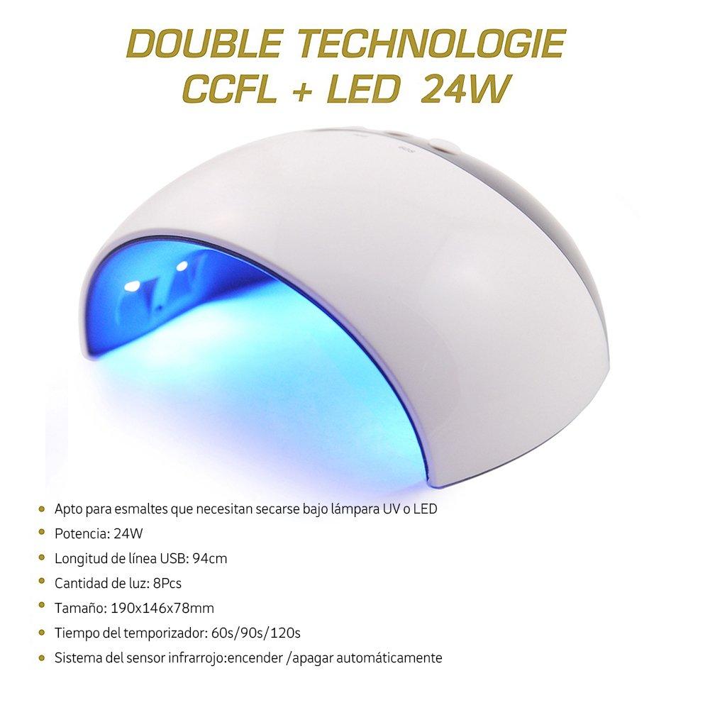 Saint-Acior Set Manicura y Pedicura Esmaltes Semipermanentes Kit Uñas de Gel 24W UV/LED Lámpara 10pcs Esmaltes de Uñas Esmaltes en Gel Soak off 8ml Nail ...
