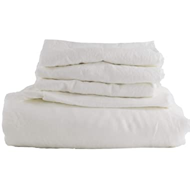 Hotel Sheets Direct 100% French Flax Linen Duvet 5 Piece Set (Queen, White)