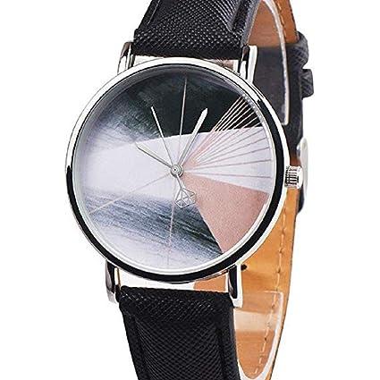 Scpink Reloj de la Mujer, Patrón de Pintura Estereográfica único Bonitos Bisel de Acero Inoxidable