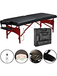 """Master Massage 30"""" Roma Therma-Top Portable Massage Table Pro Package, Black, Adjustable Heating System"""