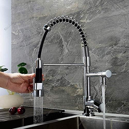 立体水栓 蛇口 キッチンシンクのフル銅Pull型のデュアル機能浄水耐久性の蛇口温水と冷水空調現代のミニマリストの回転蛇口 万能水栓 台付