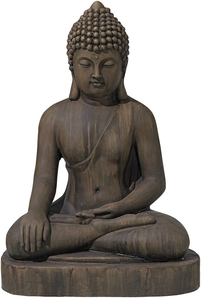 "John Timberland Sitting Buddha 29 1/2"" High Dark Sandstone Outdoor Statue"