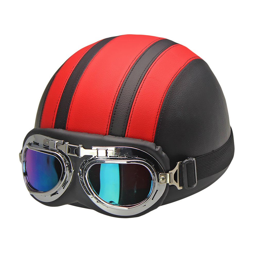 Half Helmet for Motorcycle Scooter Biker with Visor UV Goggles Glasses Scarf Fits Men Women (Red) Aneil