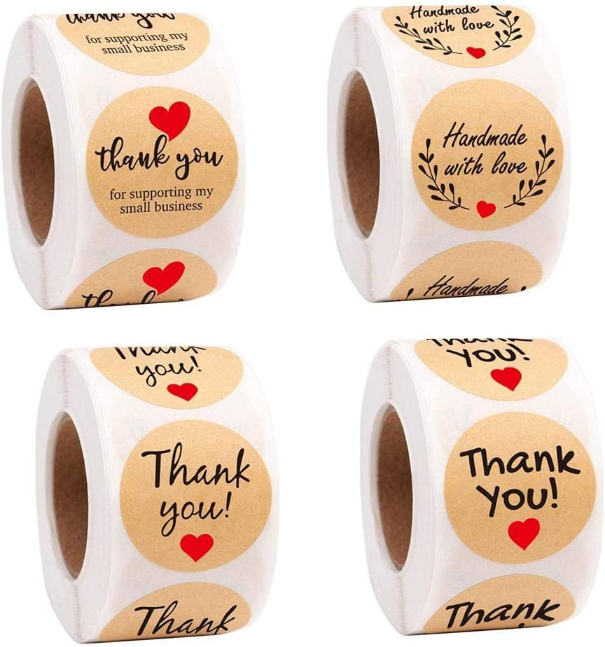 Dongba 500Pcs//Roll Round Paper Thank You Stickers Label for Bakery Labels /& Stickers