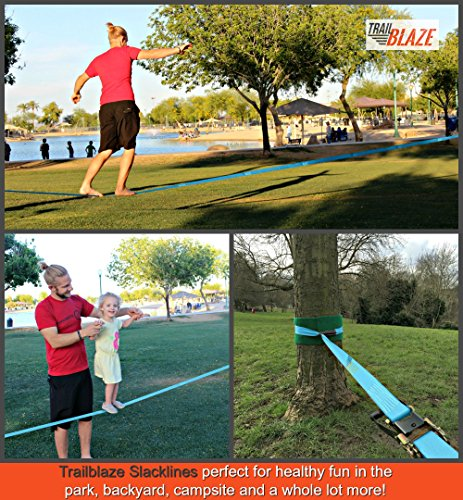 Strongest Slackline Kit with Tree Protectors + Carry Bag | Perfect Slack Lines for Kids Family Outdoor Healthy Fun | Easy Setup 50 ft Slack Line