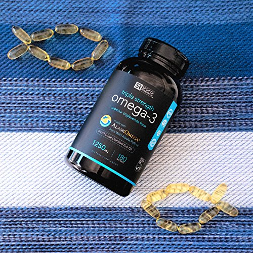 Omega-3 Wild Alaskan Fish Oil (1250mg per Capsule) with Triglyceride EPA & DHA   Heart, Brain & Joint Support   IFOS 5 Star Certified, Non-GMO & Gluten Free (180 Softgels)