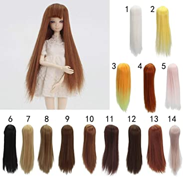 18cm Doll DIY Wig Long White Curly Hair with Full Bangs for 27-30 Centimeter Doll DIY Making Accessories