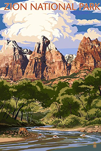Zion National Park, Utah - Virgin River and Peaks (24x36 Giclee Gallery Print, Wall Decor Travel Poster) ()