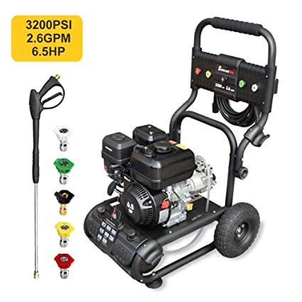Power Washing Machine >> Gas Pressure Washer Power Washer 3200 Psi Car Washing Machine 6 5hp Pump 2 6gpm High Pressure Hose 5 Nozzles Detergent Tank