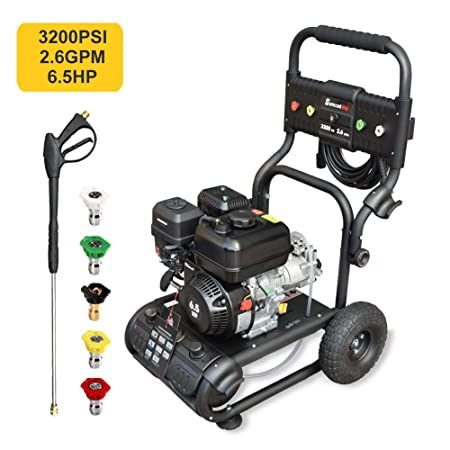 Power Washing Machine >> Surmountway Gas Pressure Washer Power Washer 3200 Psi Car Washing Machine 6 5hp Pump 2 6gpm High Pressure Hose 5 Nozzles Detergent Tank
