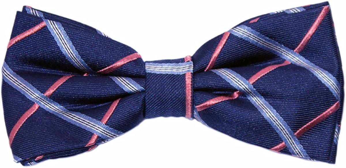 Navy /& Light Blue Check Bow Tie